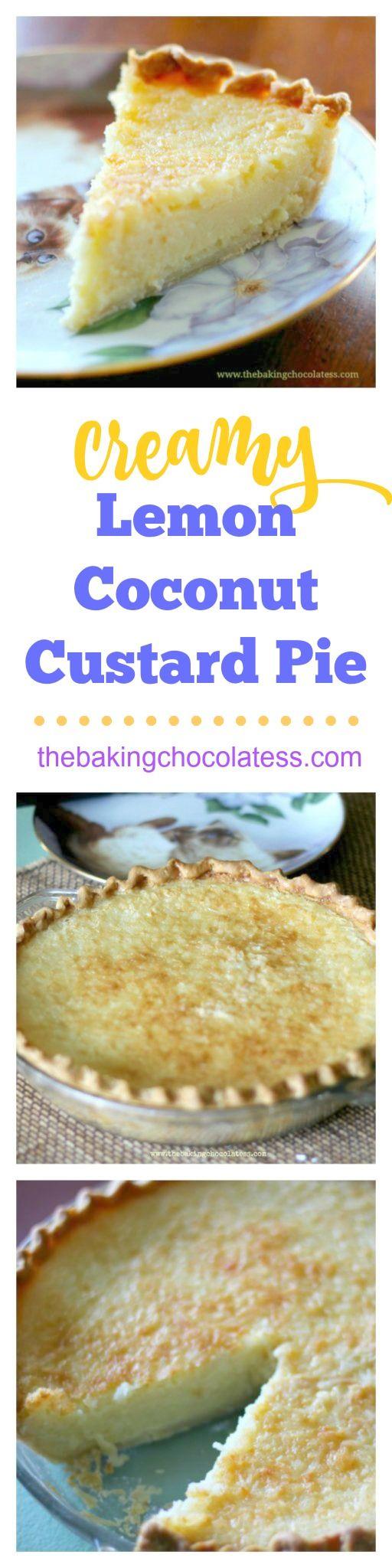Creamy Lemon Coconut Custard Pie via @https://www.pinterest.com/BaknChocolaTess/