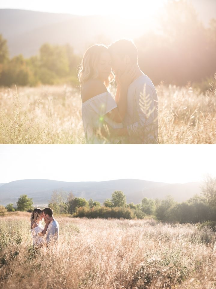 Warm and dreamy sunflares at that early morning couples session