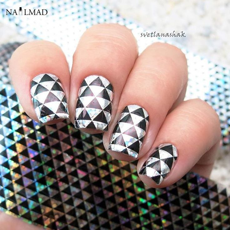 1 roll 4100cm holographic nail foilstriangle patterns