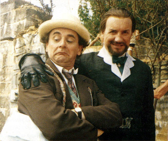 Sylvester McCoy (the Seventh Doctor) and Anthony Ainley (the Master) from the set of Survival ~ Great picture