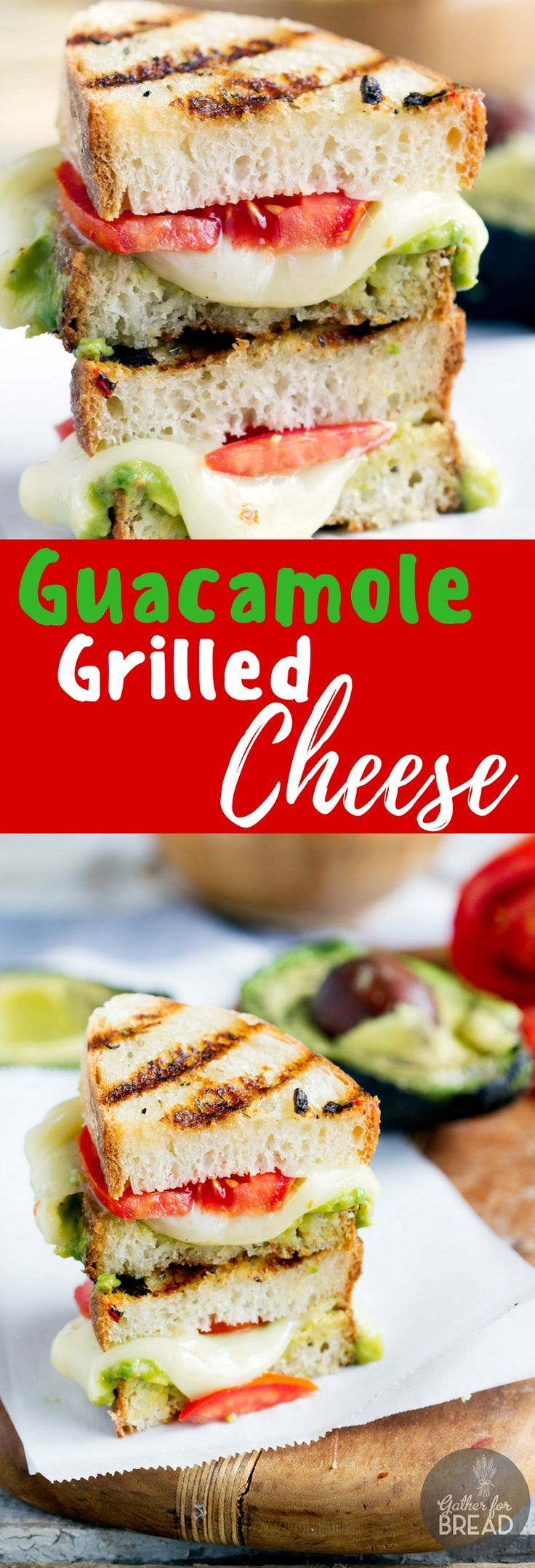 Guacamole Grilled Cheese - Grilled cheese sandwich bursting with gooey cheese…