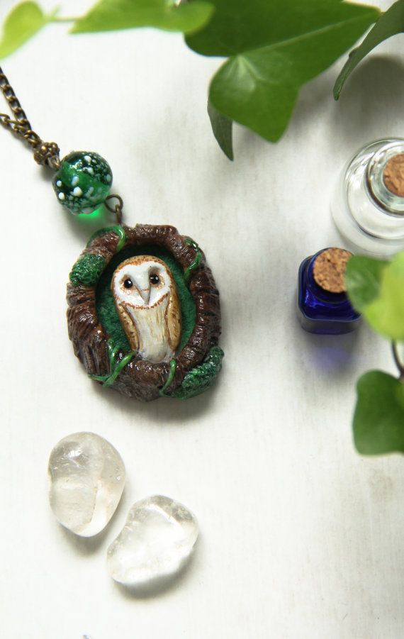 Owl Necklace, Barn Owl Polymer Clay Necklace, Miniature Owl Pendant, Woodland Necklace, Cute Owl Pendant