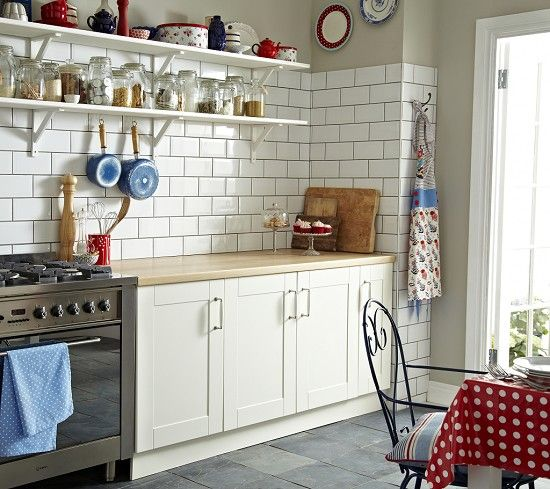 white metro tiles for the kitchen with grey green walls :)