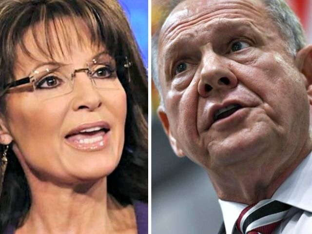 Sarah Palin congratulated Roy Moore after news of his landslide victory in the Alabama GOP special primary election for U.S. Senate broke.