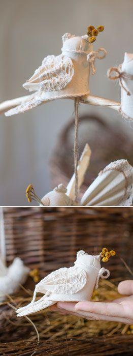 Bird 1st Birthday Gift, Handmade Wedding Present, Christmas Decoration, Ecofriendly Home Decor, Textile Doll