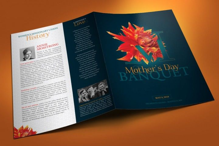 Mothers Day Banquet Brochure Template created with Photoshop for Mother's Day, women conventions, and church banquets and galas focusing on motherhood and celebrating mothers. Great for Motivational Keynotes or women's empowerment conferences. Designed with a beautiful Daliah flower composed with the letter M.