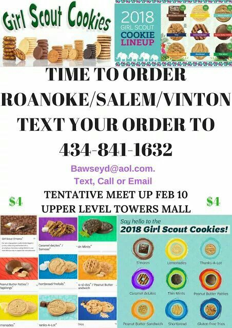 Order Girl Scout Cookies Here #Roanoke  #Salem  #Vinton  #Bedford #lynchburg Get them early Feb~~ $4 a boX  ~~ Call, Text or email today~ http://ow.ly/f2JC30hTcfC