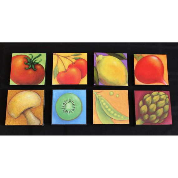 Purple Vegetable Wall Art: Fruits And Vegetables, Wall Decor And Folk Art Paintings