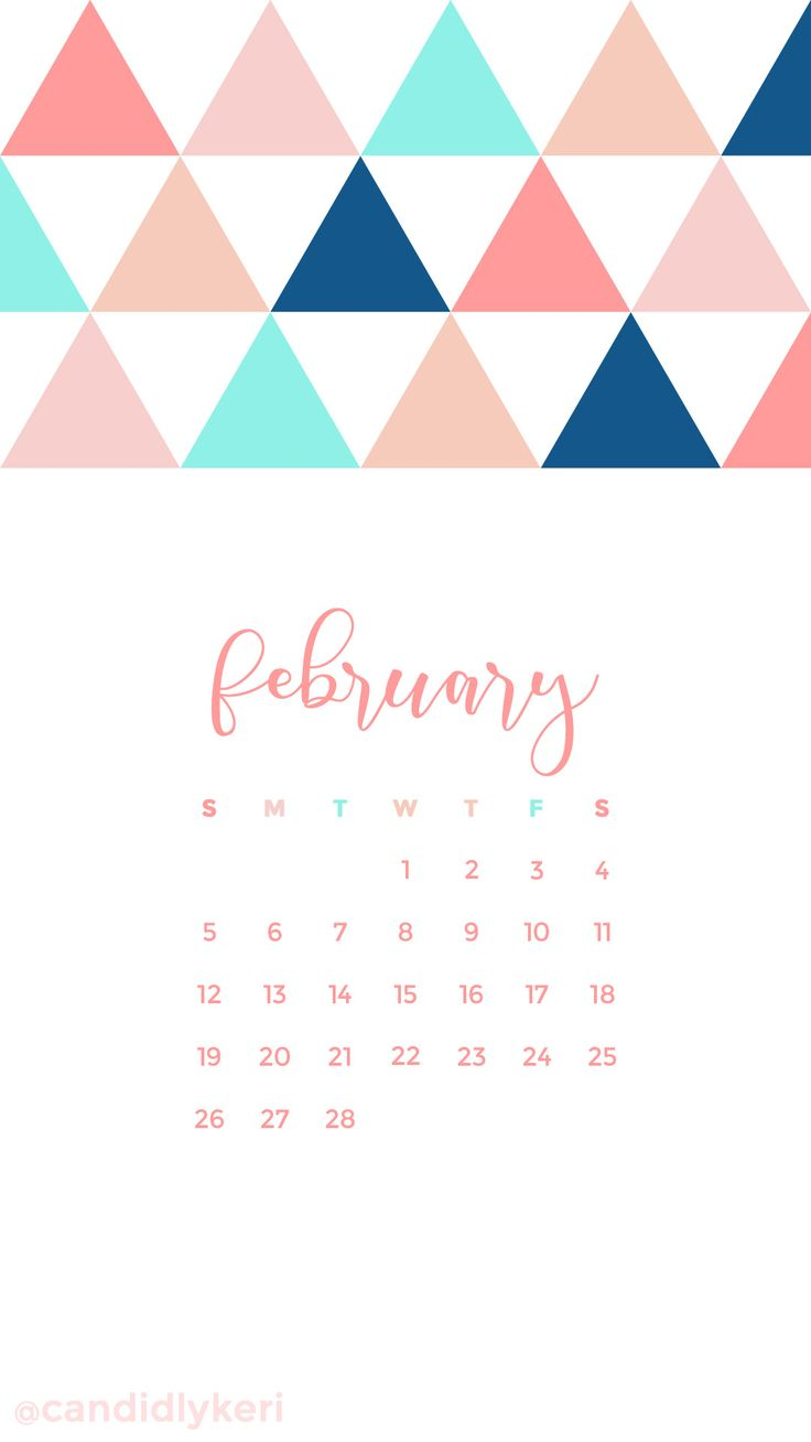 Calendar Wallpaper Feb : Pink salmon navy blue turquoise triangle february calendar