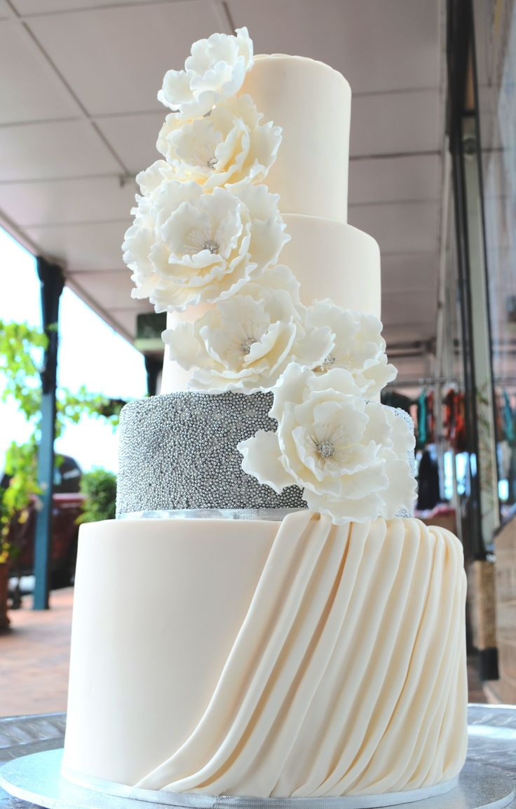 Wedding Cake, four tiered fondant with silver detailing