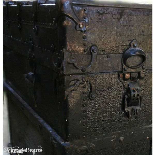 Antique Steamer Trunk. Victorian Luggage. Rustic Farmhouse Decor. (£180) ❤ liked on Polyvore featuring home and home decor