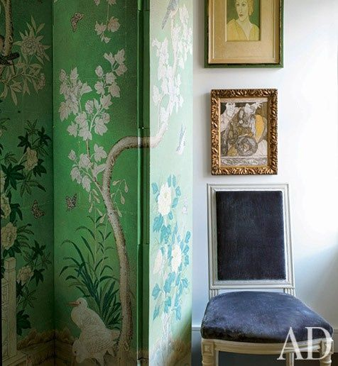 screen + grey velvet - would work nicely to have a patterned wallpaper along an accent wall, in place of screen