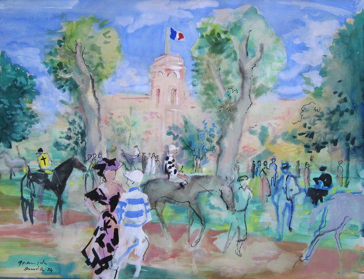 'Champ de courses, Deauville' Watercolour & gouache on paper: 47 x 61 cm Signed & dated 'Deauville 1954' by Emilio Grau-Sala (1911 - 1975)