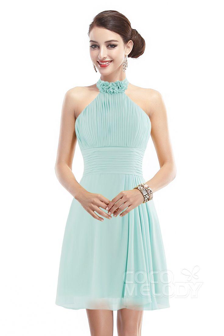 The 25 best zipper bridesmaid dresses ideas on pinterest fashion a line halter natural short mini chiffon sleeveless zipper bridesmaid dress cozk1401b ombrellifo Image collections