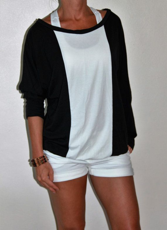 Batwing top/Black and white top/bamboo top/organic by SisBoutiqueL