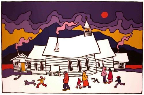 "Ted Harrison, ""Carcross Church"" 1982"
