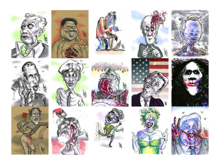 Zombie caricatures of Vincent Price, Bernie Mac, Bob Denver (Gilligan), George Carlin, Johnny Carson, Don Adams, Don Knotts, Jerry Falwell, Ronald Reagan, Heath Ledger, Marcel Marceau, Pat Morita, Saddam Hussein, Anna Nicole Smith, and Boris Yeltsin, all who grace the cover spread of the book, and each available as an incentive or add on as original art and/or print.