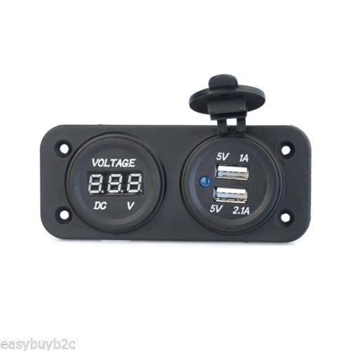12V-Steckdose-Zigarettenanzuender-Ladegeraet-Adapter-mit-Dual-USB-Buchse-fuer-KFZ