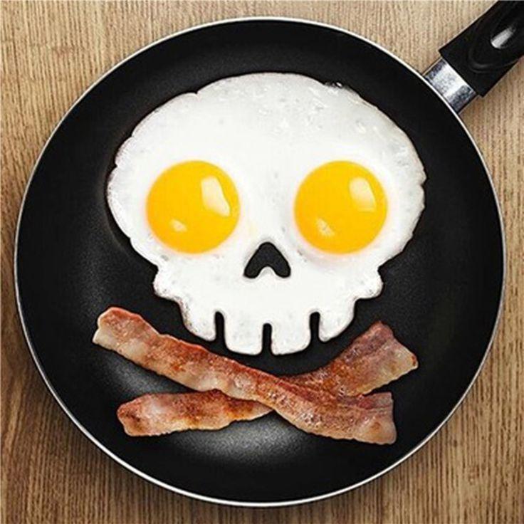 Cocina que cocina la herramienta de silicona diseño único huevo de goma del molde antiadherente cráneo huevos freír frito molde huevo Pancake anillo talladora Mold