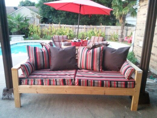 Decided To Make My Own Pillows Fory Outdoor Sofa.glad I Did. Material Came  From Outlet Warehouse Store And Was 3 Times Cheaper Than Hobby Lobby.