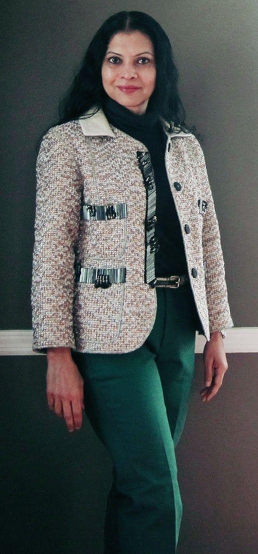 Marc Jacobs jacket with metallic threads, beads and leather collar, Uniqlo charcoal merino wool turtleneck, Mango animal print belt and Zara pants - 2016