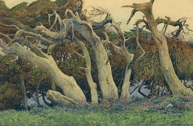 Gunnar Mauritz Widforss (Swedish American, 1879 - 1934),Windswept Trees, 1925,watercolor on paperboard, 32.39 x 46.99 cm.