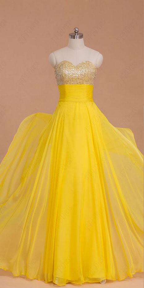 beaded yellow chiffon long prom dresses evening dresses