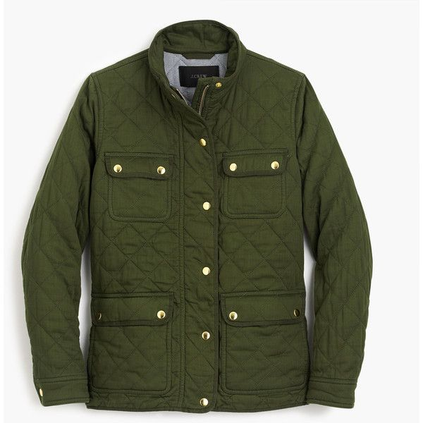 J.Crew Petite quilted downtown field jacket ($168) ❤ liked on Polyvore featuring outerwear, jackets, quilted field jacket, petite jackets, cotton field jacket, cotton army jacket and petite military jacket
