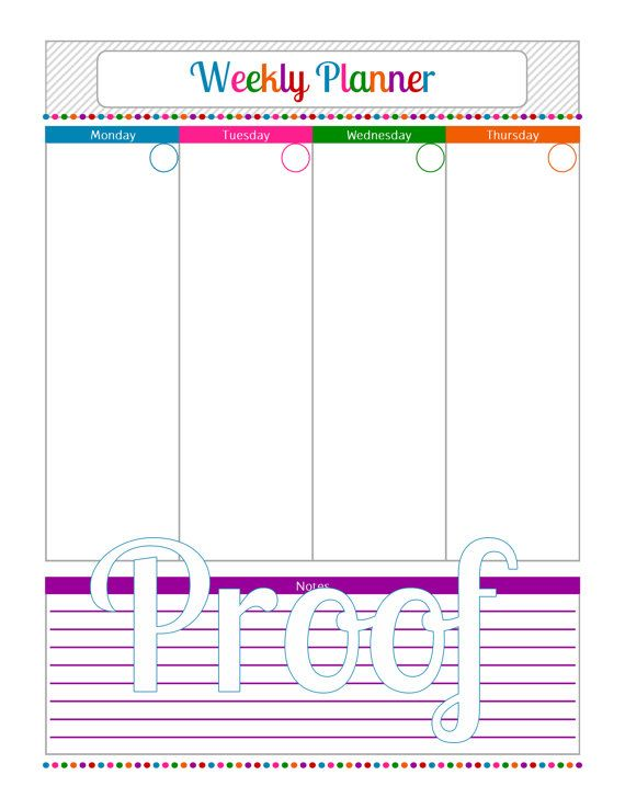 Weekly Planner 2 Page - Instant Download PDF Printable
