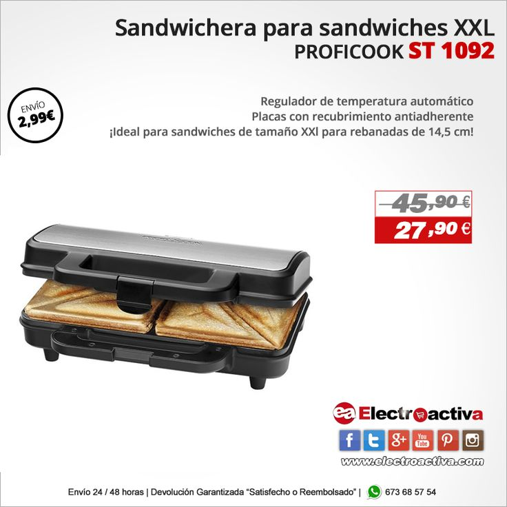 ¡Ideal para sandwiches de tamaño XXl para rebanadas de 14,5 cm! Sandwichera Proficook ST 1092 https://www.electroactiva.com/proficook-sandwichera-para-sandwiches-grandes-xxl-americanos-st-1092.html #Elmejorprecio #Sandwichera #Cocina #Electrodomestico