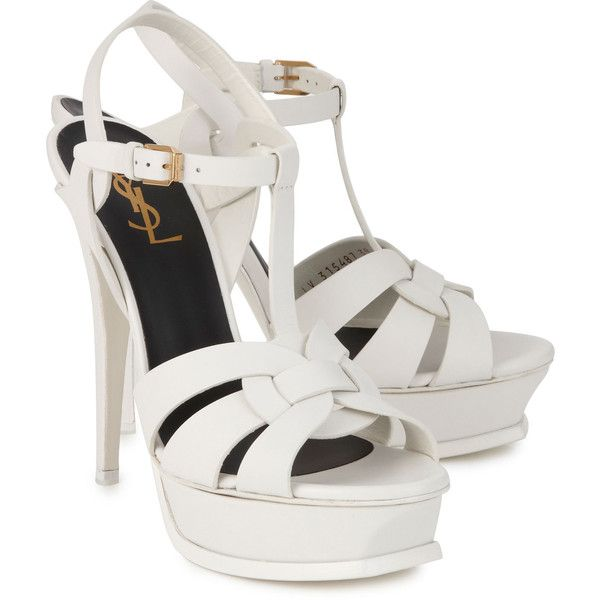 Saint Laurent Paris Tribute Leather Sandals ($875) ❤ liked on Polyvore