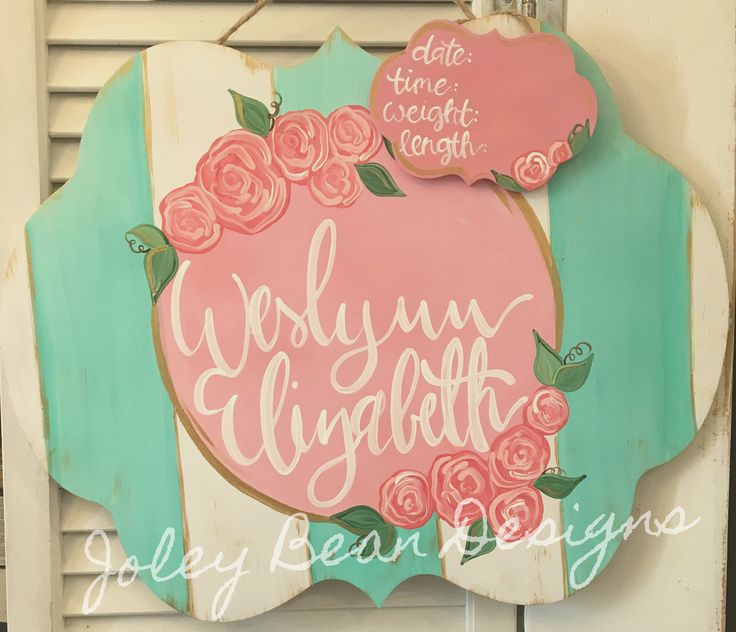 Mint Striped Floral Baby Girl Hospital Door Hanger #etsy #floral #nursery #joleybeandesigns #flowers #babygirl #hospitaldoorhanger