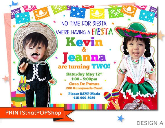 Fiesta Invitation,Cinco De Mayo,Mexican Fiesta,Cinco De Mayo Fiesta,Twin Fiesta,Sibling Invite,Custom Face,Milestone,Custom Photo,Mexican