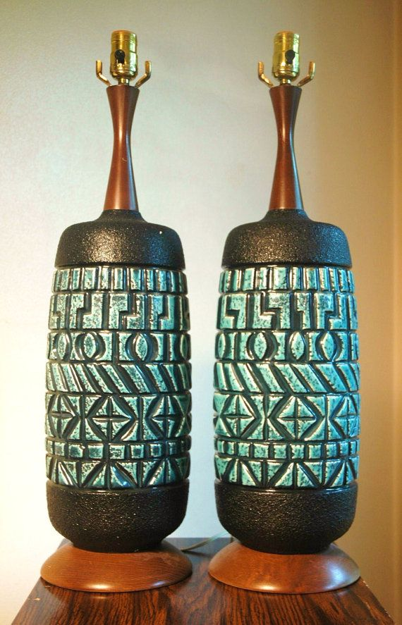 mid century ceramics | RESERVED FOR SARAHLEE Mid Century Modern Ceramic Lamp Pair - Danish ...