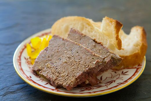 LIVER PATE:  1 lb ground pork, or chopped pork shoulder  1 lb of liver - (chicken, calf's, or pig's), trimmed of connective tissue, diced  1 Tablespoons of cognac or brandy  1 Tablespoons of dry Madeira or sherry  1 cloves garlic  2 sprays of parsley  1/2 shallot or small white onion  1/4 teaspoon powdered ginger  1/8 teaspoon clove  1/8 teaspoon cinnamon  1/8 teaspoon nutmeg  1 teaspoon salt  1/4 teaspoon freshly ground pepper  Dash of Tabasco or cayenne  Sliced bacon - about 1/2 lb