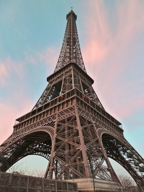 Eiffle Tower, Paris, France   IT IS AS MUCH FUN TO LOOK UP AS IT IS TO LOOK DOWN AND SEE THE ENTIRE CITY
