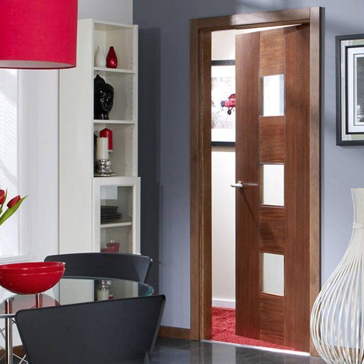 Door Set Kit, Catalonia Walnut Flush Veneered Door - Linea Safe Glass - Prefinished. #moderndoor #internaldoor #contemporarydoor