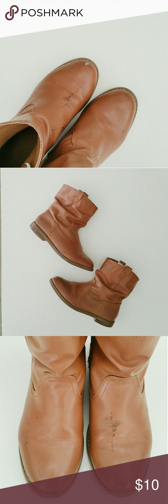 MAKE AN OFFER ▪ Cognac Boots Great condition.  Will wipe clean before shipping out. Picture three show scuff. Shoes Boots