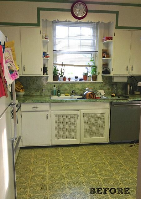 Gretchen gave her kitchen a new look for less than $1,500. This is how it looked BEFORE.   hookedonhouses.net