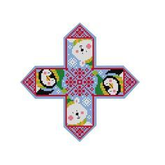 A cross stitch chart of a polar bear and his penguin friend as a hanging ornament, would be ideal for decorating a Christmas tree. The chart is supplied with full making-up instructions with photography and a free bonus chart of 4 little designs which would be ideal to be used on gift tags. The design is shown sewn onto blue fabric, the background is not sewn. Ornament finished size (without hanger or tassel) • approx. 2.4 x 1.6 / 6cm x 4cm Chart specs. • max. stitch count 90 sts x 90 ...