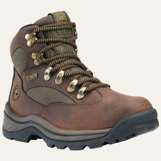 These women's Timberland hiking boots feature Gore-Tex waterproof protection.