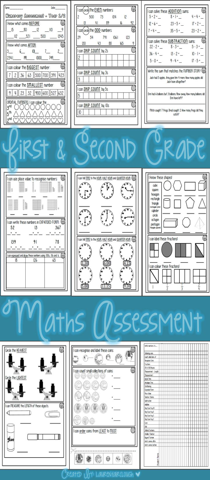 FIRST AND SECOND GRADE MATHS ASSESSMENT!  This test provides students the opportunity to demonstrate their understanding of the following concepts..  * Number - bigger, smaller, before, after, odd, even and skip counting.  * Addition * Subtraction  * Telling time the the hour, half hour and quarter hour * Partitioning and Place Value * Fractions * Recognising, counting and ordering Australian Coins. * Measurement - weight and length