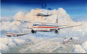 """Past, Present, and Future"" by Rick Herter. The history of the American Airlines fleet is captured in this beautiful collection of airliners. This painting showcases the Airbus A321 NEO and the Airbus 319, the future of A/A, over the home of American Airlines, DFW airport.  As the Airbus aircraft ushers in a new future of service with American, some great airplanes of the past are also seen in the painting, including the Douglas DC-3, the Boeing 707, McDonald Douglas MD-80, and Boeing 757."
