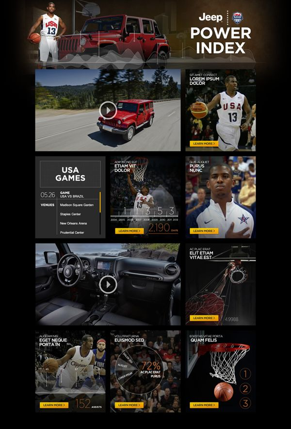 Jeep's activation of its 2012 USA Basketball sponsorship included the creation of a Website & iPad App, by Anne Clark, via Behance