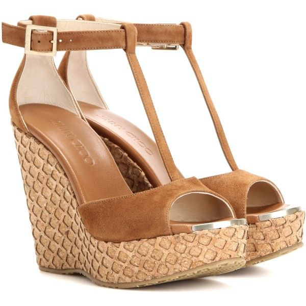Jimmy Choo Pela Suede Wedge Sandals ($470) ❤ liked on Polyvore featuring shoes, sandals, wedges, brown, wedge sandals, wedges shoes, jimmy choo, suede leather shoes and brown wedge heel sandals