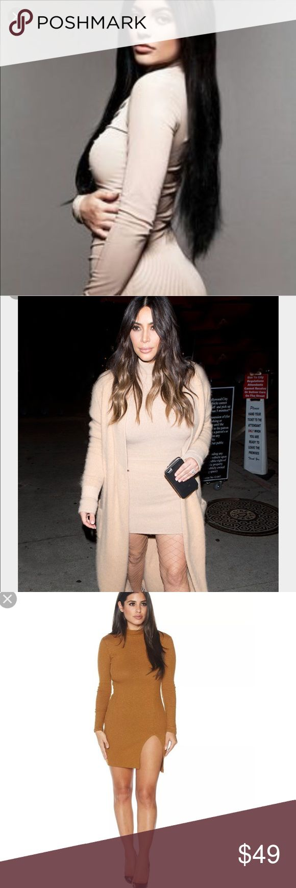 🔥Kylie J & Kim K Naked Wardrobe Dress From the line that Kim Kardashian West adores so much, she's now carrying it in her Dash stores. This stunning nude colored dress will suck you in at all the right places, hugging every curve. Long sleeves, mock neck, thigh slit & the fabric has good stretch to it. Effortless, sexy chic. Brand new with tags. Size small. (3rd photo is a stock photo of the dress style, not color. This dress is nude, like the first two photos)                Tags: Bebe…