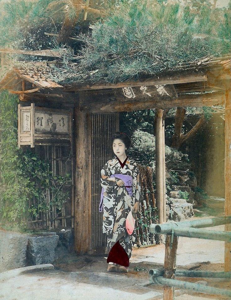 A geisha in traditional garb, circa 1890.