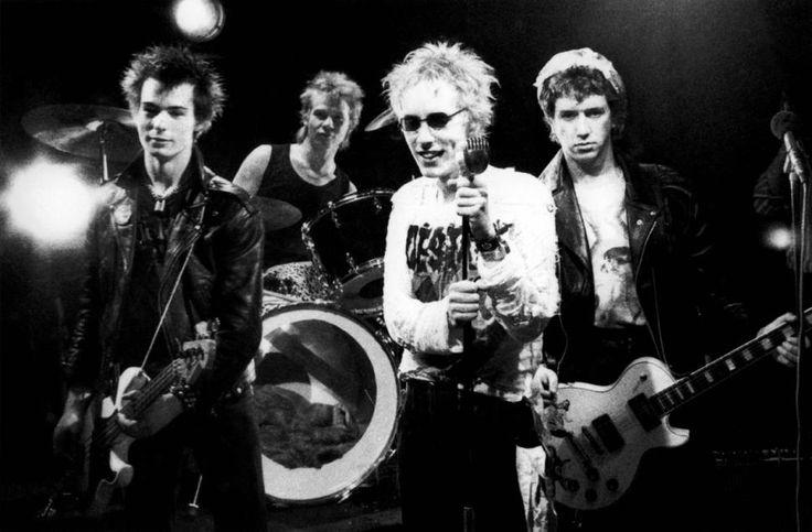 Sex Pistols' Sid Vicious, Paul Cook, Johnny Rotten and Steve Jones perform.