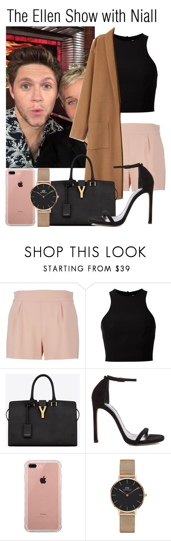 """""""The Ellen Show with Niall (boyfriend)"""" by babedirectionerx ❤ liked on Polyvore featuring Moschino, T By Alexander Wang, Yves Saint Laurent, Stuart Weitzman, Belkin, Daniel Wellington and NiallHoran"""