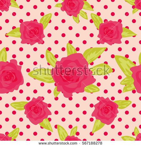 Romantic background with large roses on a pink background with polka dot. Cute vintage floral pattern. Vector illustration Ornament with painted flowers. Template repeating, seamless
